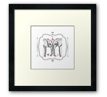 Ink and Watercolor Elephants in Love Framed Print