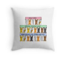 Cats celebrating birthdays on February 4th. Throw Pillow