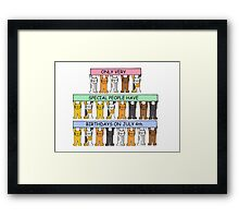 Cartoon cats celebrating July 4th Birthday. Framed Print
