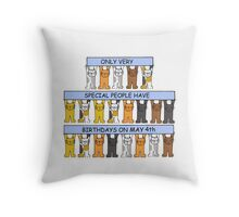 Date specific birthday card for May 4th Throw Pillow