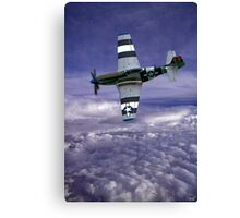 Mustang Fighter Patrols the Skies Above the Clouds Canvas Print