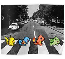 Kanto Starters on Abbey Road (black/white) Poster