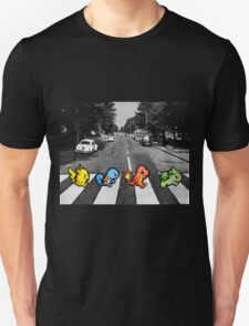 Kanto Starters on Abbey Road (black/white) T-Shirt