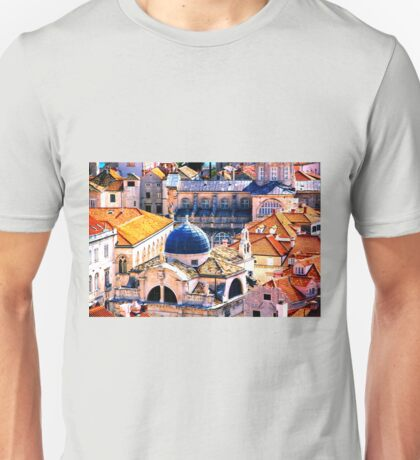 The Essence of Croatia - Red Terracotta Rooftops of Dubrovnik Unisex T-Shirt