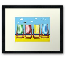 DECKCHAIRS with GULL Framed Print