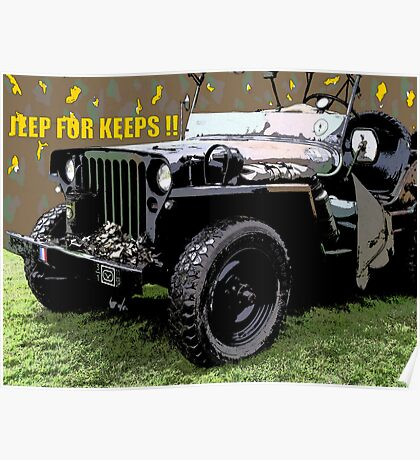 """JEEP FOR KEEPS""Comic Strip Jeep Poster"