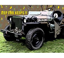 """JEEP FOR KEEPS""Comic Strip Jeep Photographic Print"