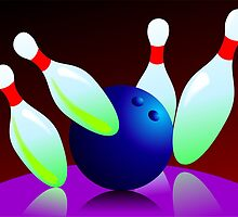 Digital painting of ten pin bowling  by tillydesign