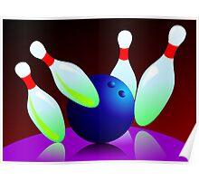 Digital painting of ten pin bowling  Poster