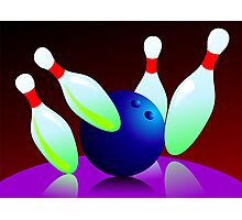 Digital painting of ten pin bowling  Photographic Print