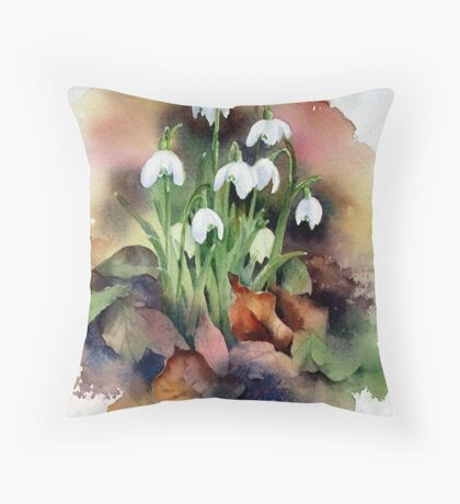 Snowdrops and Fallen Leaves Throw Pillow