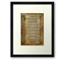 """Desiderata """"desired things"""" on parchment Framed Print"""