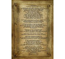 "Desiderata ""desired things"" on parchment Photographic Print"