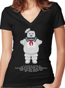 Stay Puft - Ghostbusters Pixel Art Women's Fitted V-Neck T-Shirt