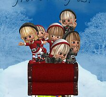 Santa's Little Eves In Sleigh - Group Christmas Card by Moonlake