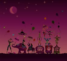 colorful circus carnival traveling in one row at night by nuanz