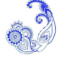 Henna Patterns in blue by Liusha T