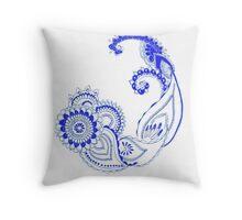 Henna Patterns in blue Throw Pillow