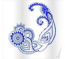 Henna Patterns in blue Poster