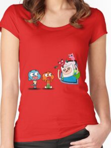 ADVENTURE TIME X GUMBALL Women's Fitted Scoop T-Shirt
