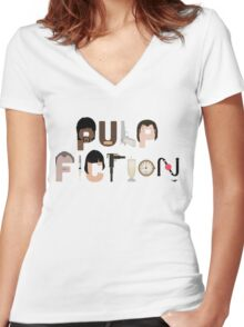 Pulp Fiction Characters Women's Fitted V-Neck T-Shirt