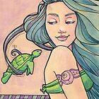 Tattooed Mermaid 6 by Karen  Hallion