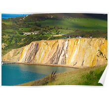 Coloured sand cliffs of Alum Bay Isle of Wight Poster