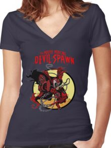 The Mouth Mercing Devil-Spawn Women's Fitted V-Neck T-Shirt