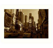 Times Square in Sepia Tone Art Print