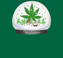 Merry Christmas Marijuana Snow Globe Unisex T-Shirt