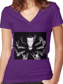Mandy the Giant Head and her Minions Women's Fitted V-Neck T-Shirt