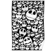 Halloween Ghost emoticon face pattern Poster