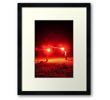 Red Flares Light Up The Night Framed Print