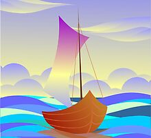 Digital painting of boat by tillydesign