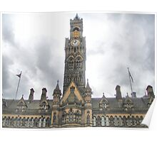 Imposing City Hall Clock ~ Bradford ~ Poster