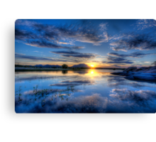 Willow lake Blue Canvas Print