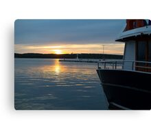 Sea Sunset with Boat in Harbour Canvas Print