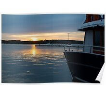 Sea Sunset with Boat in Harbour Poster