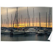 Sunset with Sailboats Horizontal Poster