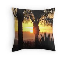 Sunset with Palm Trees Throw Pillow