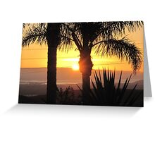 Sunset with Palm Trees Greeting Card