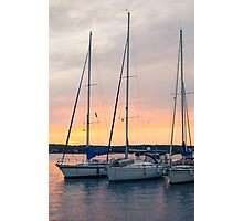 Sunset with Sailboats Vertical Photographic Print