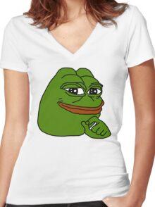 smug frog/smug pepe v2 Women's Fitted V-Neck T-Shirt