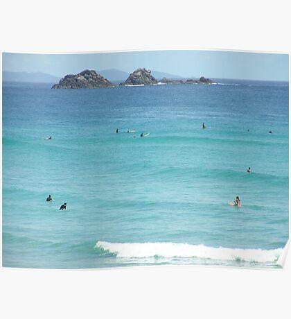 Surfing Wategos Beach Byron Bay Poster