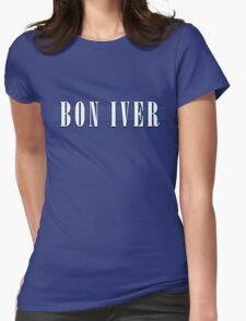 BON IVER - Stripe Logo  Womens Fitted T-Shirt