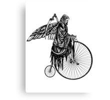 Death Rides an Old Timey Bike Canvas Print