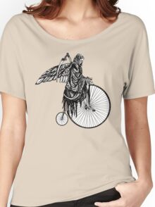 Death Rides an Old Timey Bike Women's Relaxed Fit T-Shirt