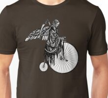 Death Rides an Old Timey Bike Unisex T-Shirt