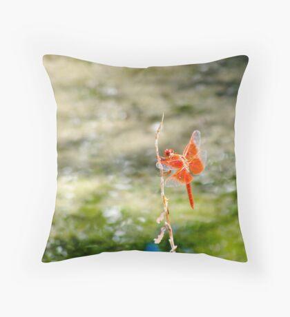 The Orange Dragonfly Throw Pillow