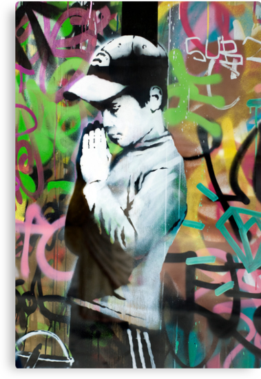 Banksy Prayer by Respire